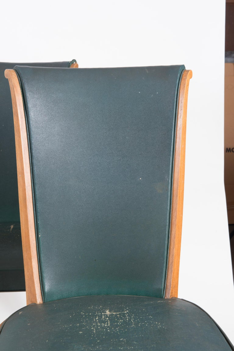 Wood Set of Six French 1950s Dining Chairs, Green For Sale