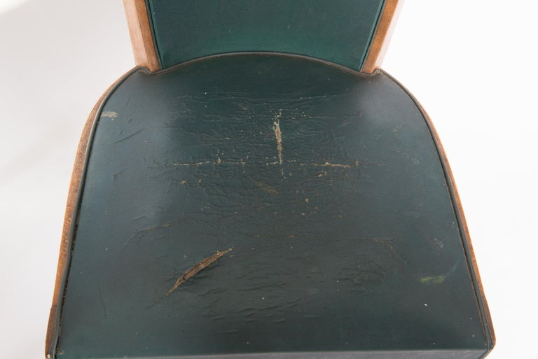 Set of Six French 1950s Dining Chairs, Green For Sale 3