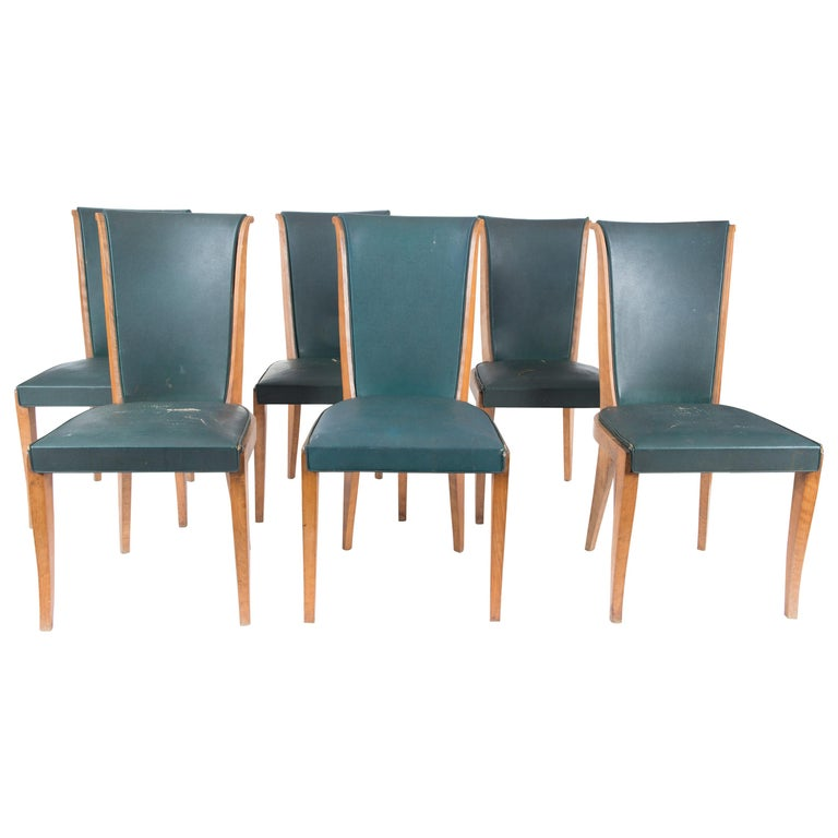 Set of Six French 1950s Dining Chairs, Green For Sale