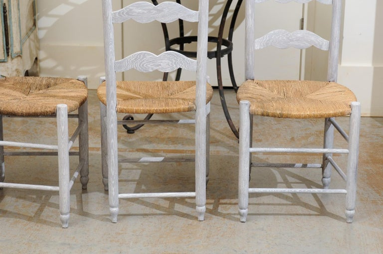 Set of Six French 19th Century Bleached Oak Ladder Back Dining Side Chairs For Sale 6