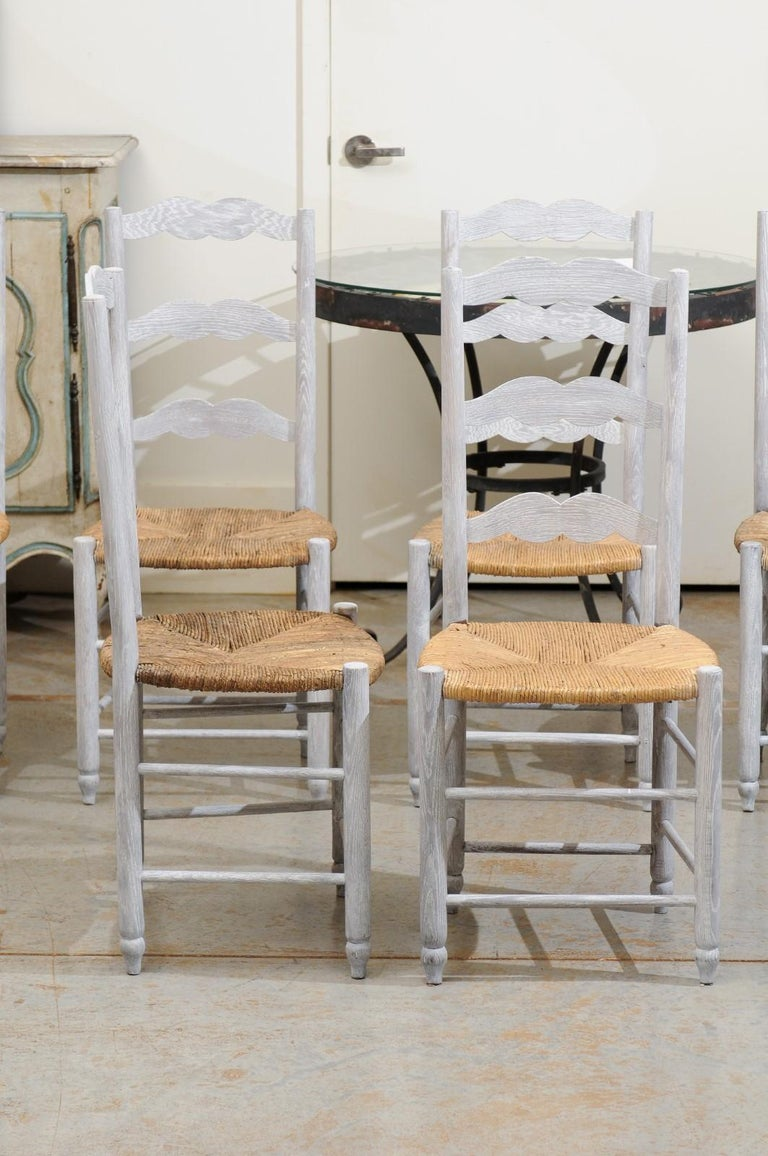Set of Six French 19th Century Bleached Oak Ladder Back Dining Side Chairs In Good Condition For Sale In Atlanta, GA