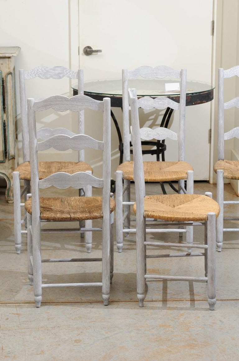 Rush Set of Six French 19th Century Bleached Oak Ladder Back Dining Side Chairs For Sale