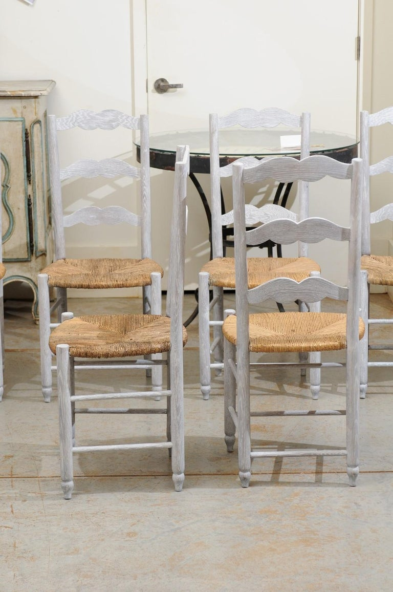 Set of Six French 19th Century Bleached Oak Ladder Back Dining Side Chairs For Sale 1