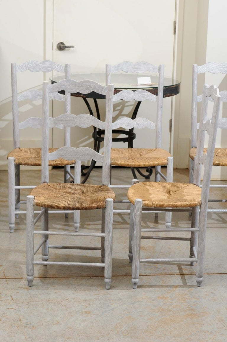 Set of Six French 19th Century Bleached Oak Ladder Back Dining Side Chairs For Sale 2