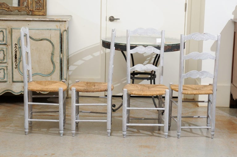 Set of Six French 19th Century Bleached Oak Ladder Back Dining Side Chairs For Sale 3