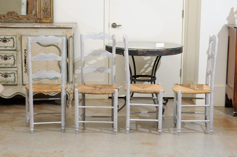 Set of Six French 19th Century Bleached Oak Ladder Back Dining Side Chairs For Sale 4