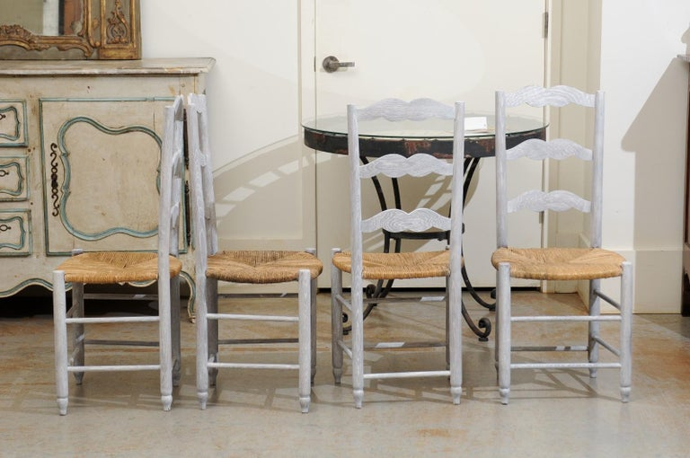 Set of Six French 19th Century Bleached Oak Ladder Back Dining Side Chairs For Sale 5