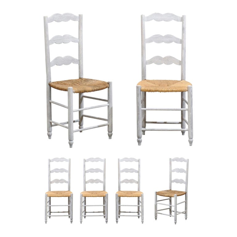 Set of Six French 19th Century Bleached Oak Ladder Back Dining Side Chairs For Sale