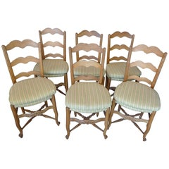 Set of Six French 19th Century Ladder-Back Side-Chairs with Cushions