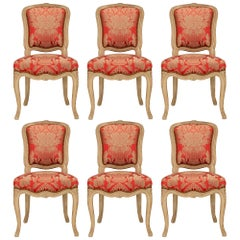Set of Six French 19th Century Louis XV St. Patinated Wood Dining Chairs