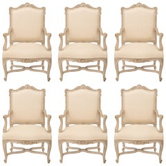 Set of Six French 19th Century Louis XV Style Patinated Armchairs