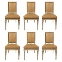 Set of Six French 19th Century Louis XVI Style Patinated Dining Chairs