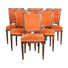 Set of Six French 19th Century Louis XVI Style Walnut Side Chairs