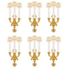 Set of Six French 19th Century Neoclassical Style Three-Arm Ormolu Sconces
