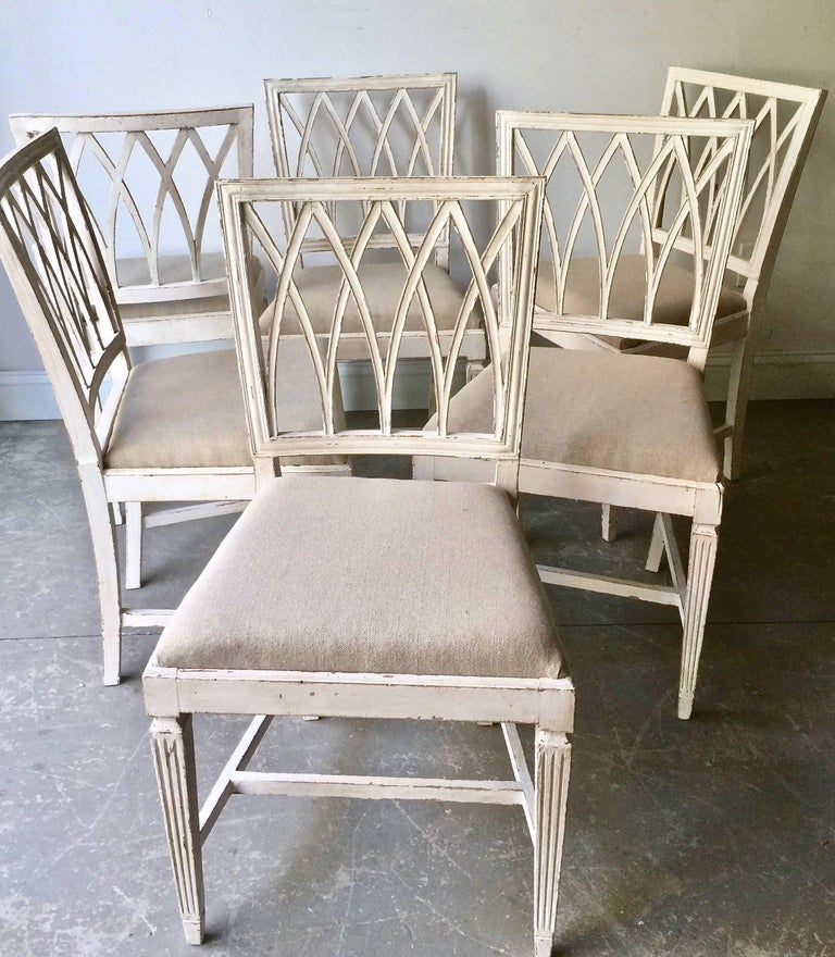 Louis XVI Set of Six French 19th Century Side Chairs For Sale