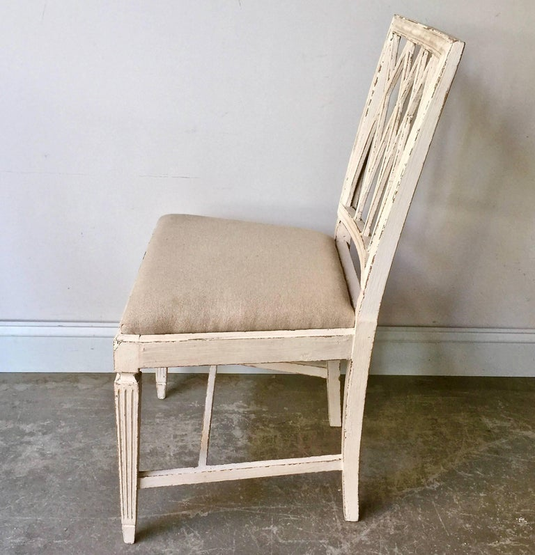 Linen Set of Six French 19th Century Side Chairs For Sale