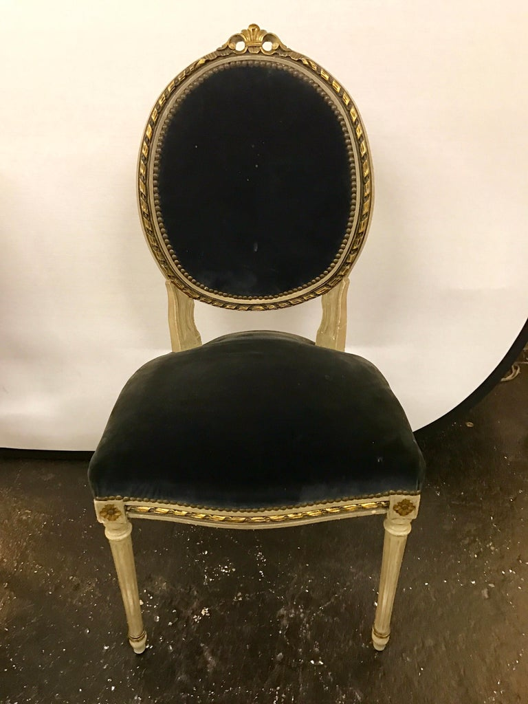 Set of Six French Antique Cream and Giltwood Dining Chairs Velvet Gray Fabric For Sale 1