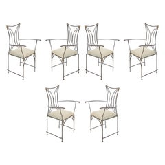 Set of Six French Art Deco Cartier Brass and Steel Arm Chairs