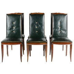Set of Six French Art Deco Dining Chairs, circa 1930