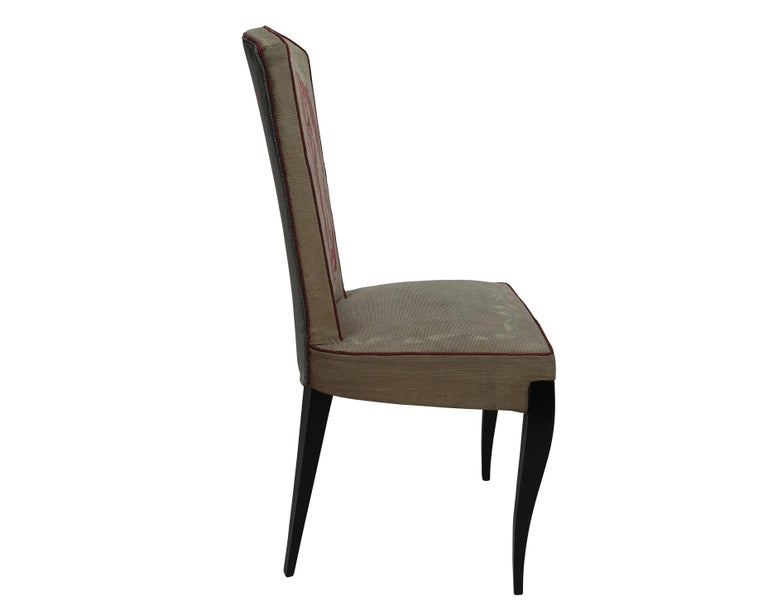 Set of Six French Art Deco Dining Chairs with Bird Scene Tapestry Upholstery For Sale 6