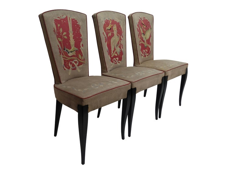 A set of six Art Deco period side dining chairs with original Aubusson tapestry upholstery. Wonderful bird design and detailing on the front of each chair, there are three different scenes (two of each). France, 1920s-1930s.