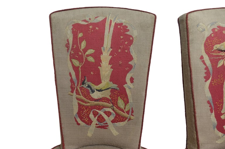 20th Century Set of Six French Art Deco Dining Chairs with Bird Scene Tapestry Upholstery For Sale
