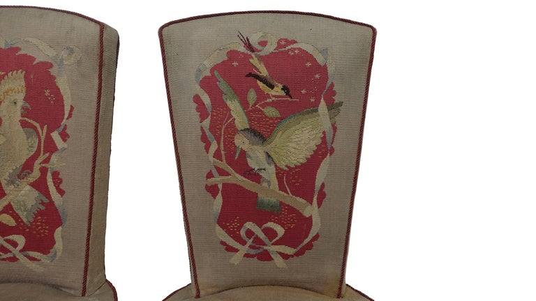 Wood Set of Six French Art Deco Dining Chairs with Bird Scene Tapestry Upholstery For Sale