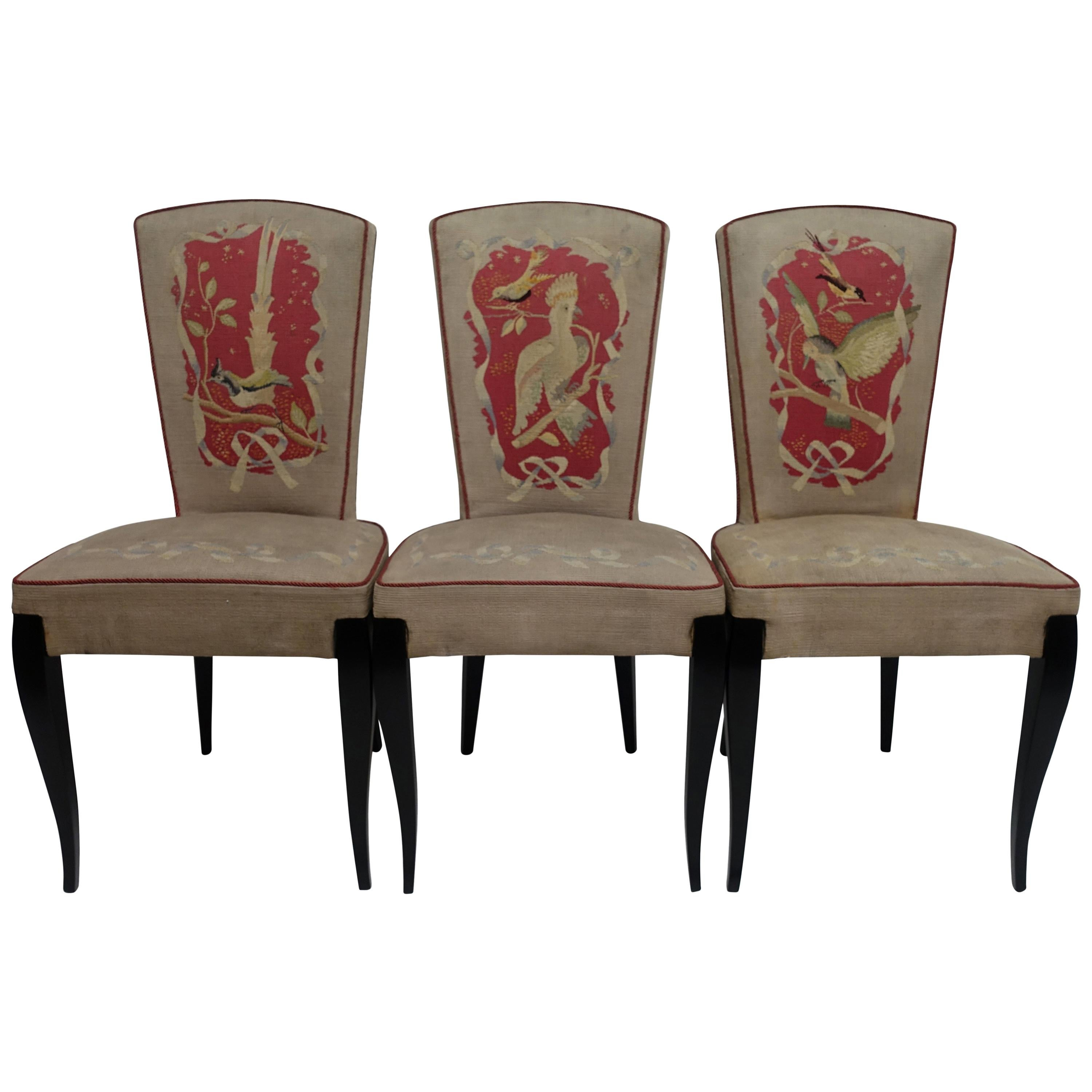 Attrayant Set Of Six French Art Deco Dining Chairs With Bird Scene Tapestry Upholstery