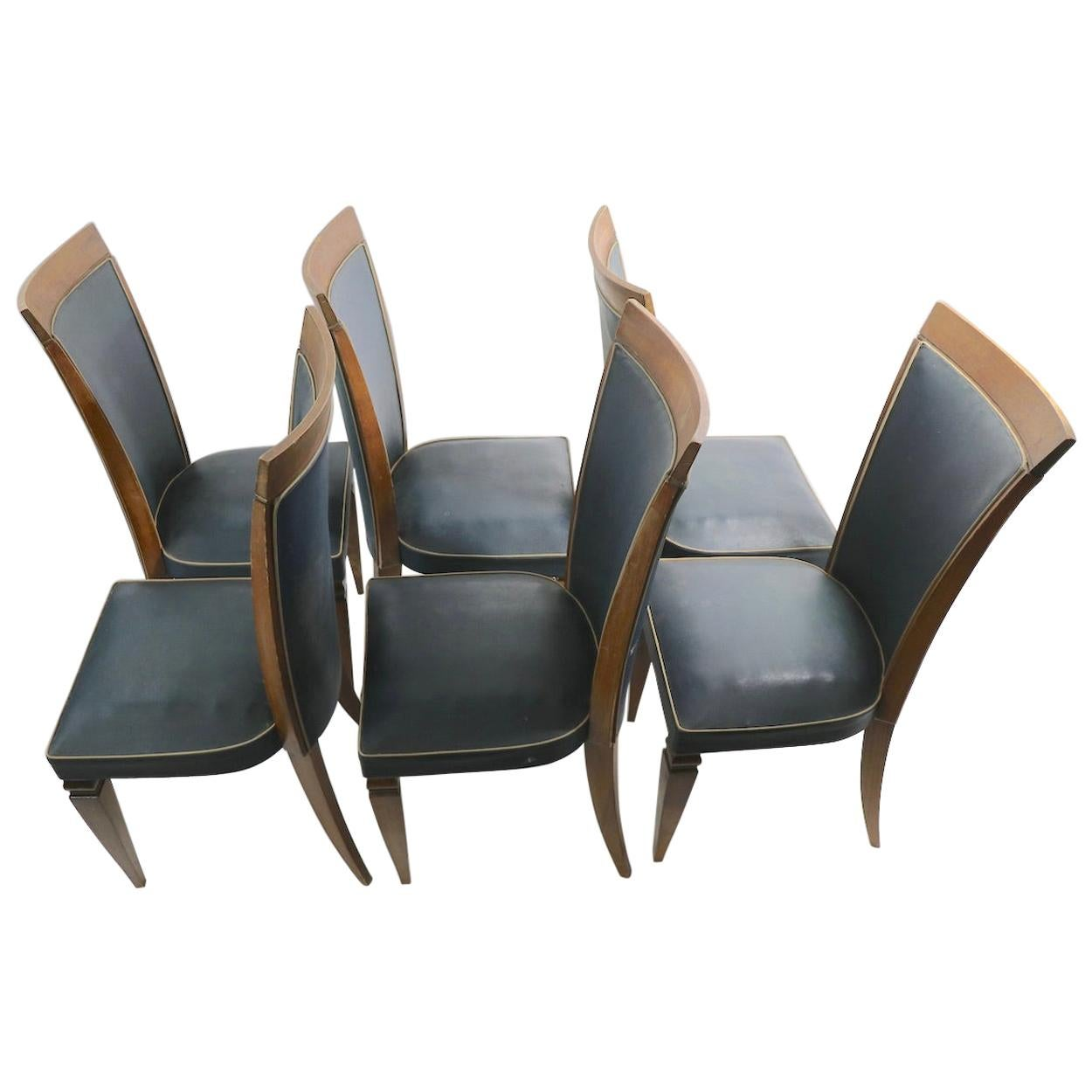 Set of Six French Art Deco High Back Dining Chairs Possibly Gaston Poisson