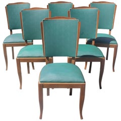 Set of Six French Art Deco Mahogany by Jules Leleu Style Dining Chairs