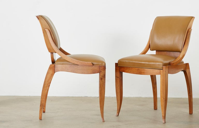 Set of Six French Art Deco Mahogany Dining Chairs For Sale 4