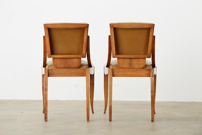 Set of Six French Art Deco Mahogany Dining Chairs For Sale 14