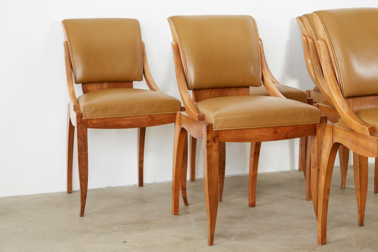Hand-Crafted Set of Six French Art Deco Mahogany Dining Chairs For Sale