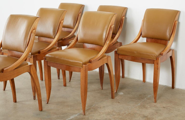 Set of Six French Art Deco Mahogany Dining Chairs In Good Condition For Sale In Oakland, CA