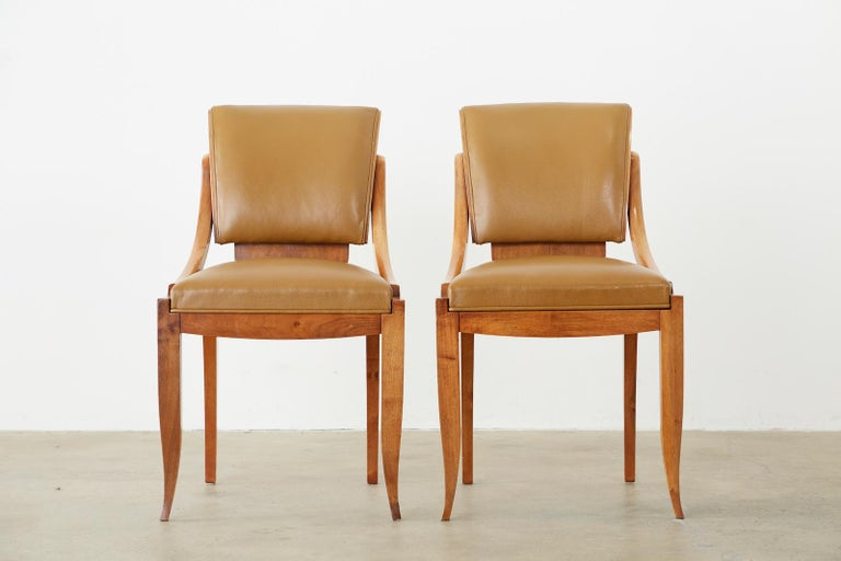 20th Century Set of Six French Art Deco Mahogany Dining Chairs For Sale