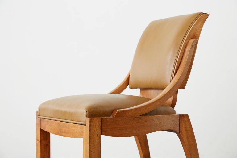 Set of Six French Art Deco Mahogany Dining Chairs For Sale 1