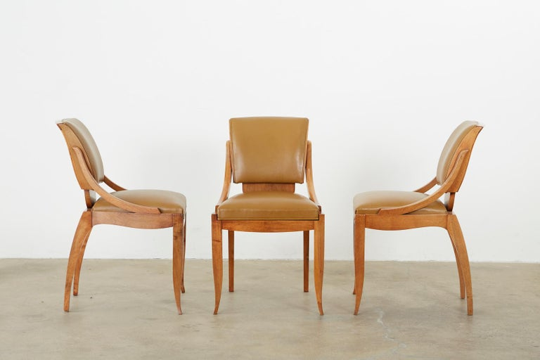 Set of Six French Art Deco Mahogany Dining Chairs For Sale 2