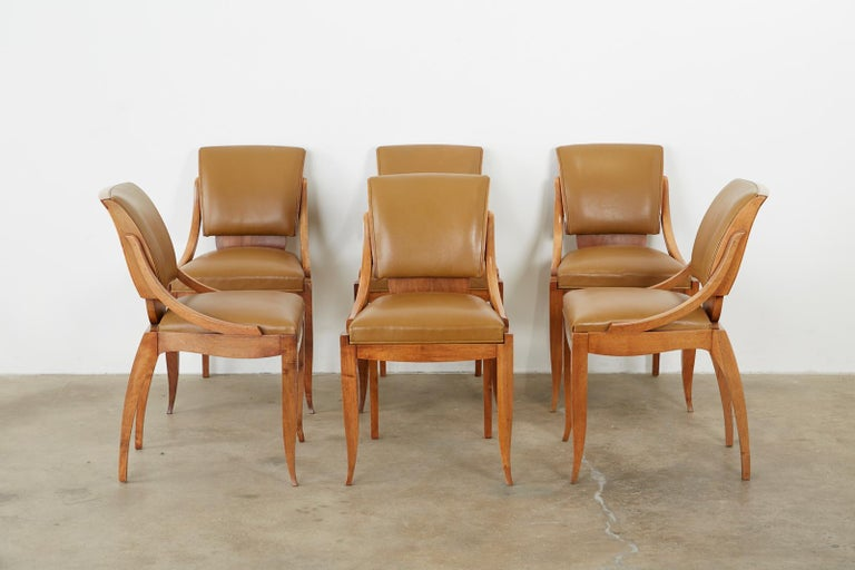 Set of Six French Art Deco Mahogany Dining Chairs For Sale 3