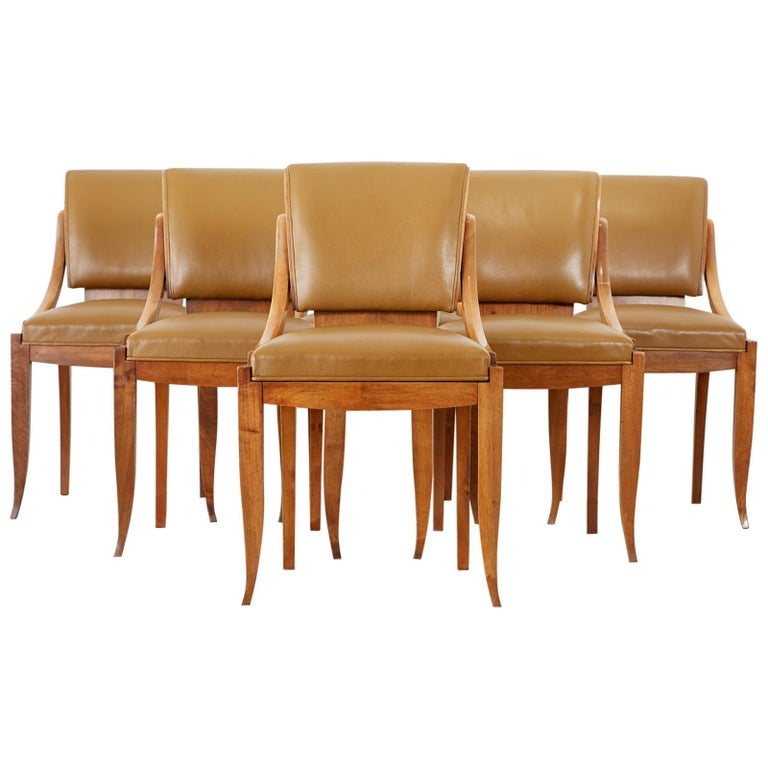 Set of Six French Art Deco Mahogany Dining Chairs For Sale