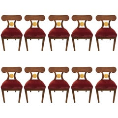 Set of Six French Art Deco Red Velvet Dining Chairs