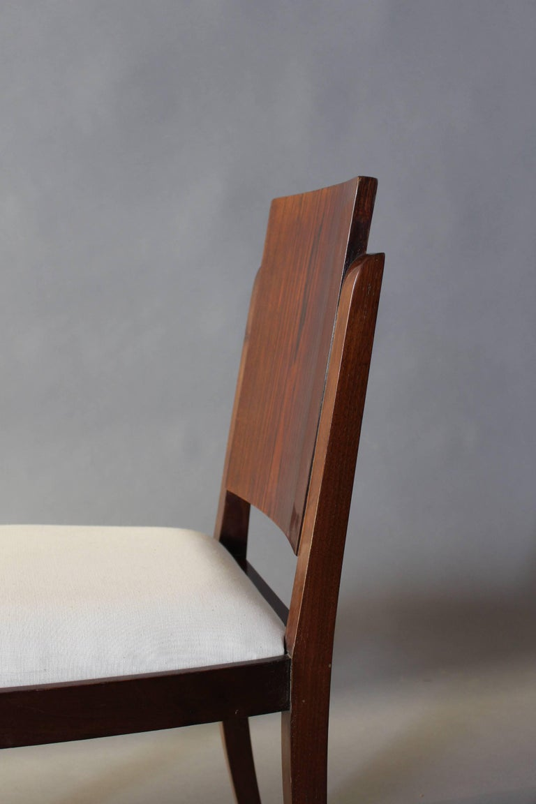 Set of Six French Art Deco Rosewood Dining Chairs For Sale 5