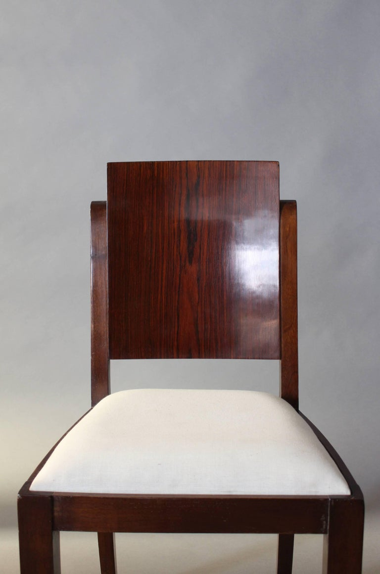 Set of Six French Art Deco Rosewood Dining Chairs For Sale 6