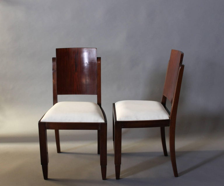 Set of Six French Art Deco Rosewood Dining Chairs In Good Condition For Sale In Long Island City, NY