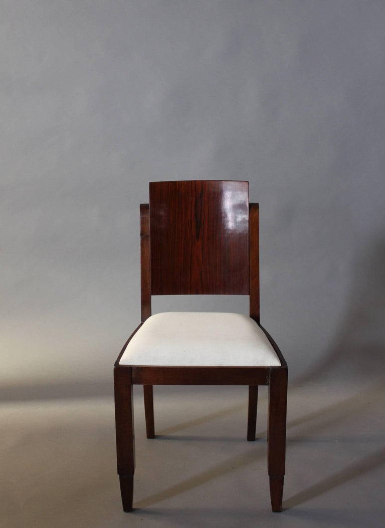 Mid-20th Century Set of Six French Art Deco Rosewood Dining Chairs For Sale