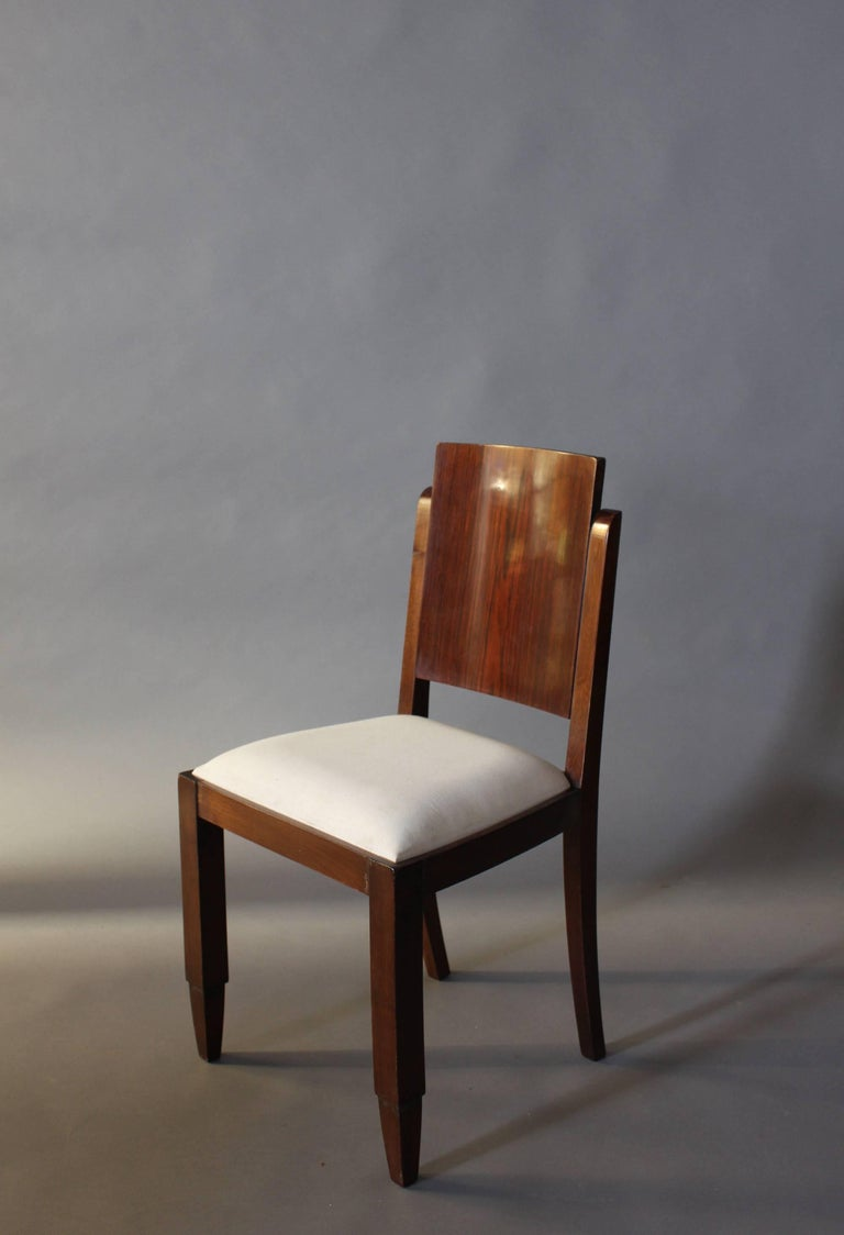 Wood Set of Six French Art Deco Rosewood Dining Chairs For Sale