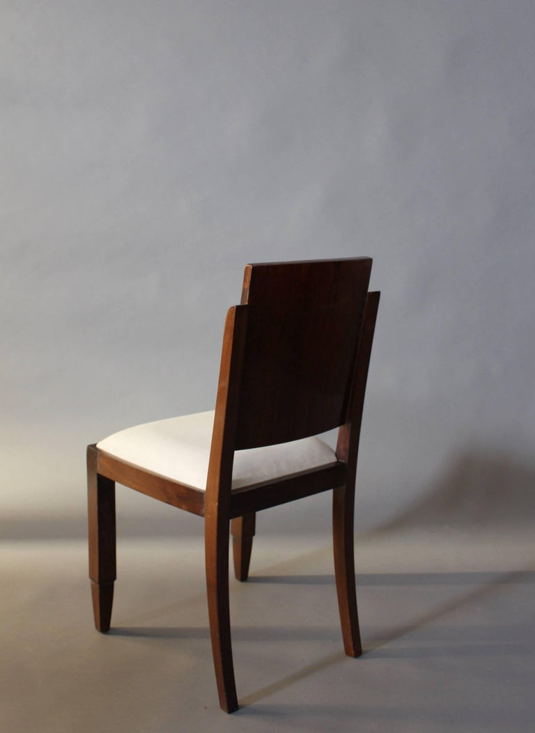Set of Six French Art Deco Rosewood Dining Chairs For Sale 2