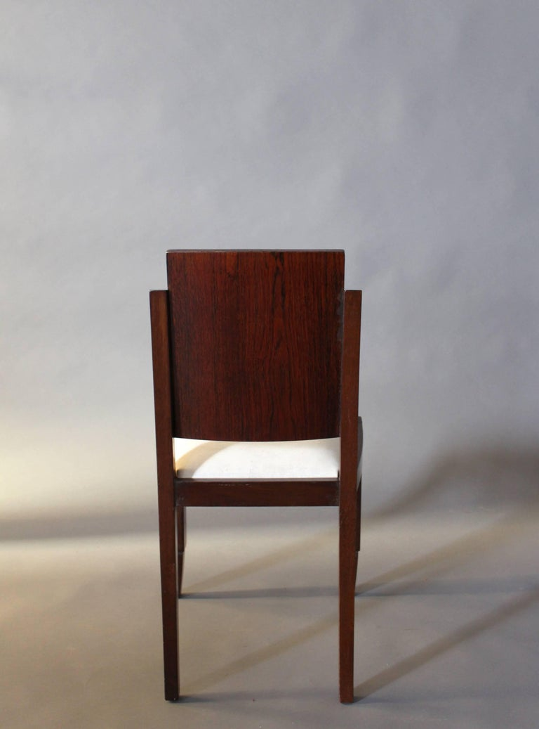 Set of Six French Art Deco Rosewood Dining Chairs For Sale 3