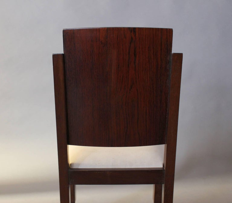 Set of Six French Art Deco Rosewood Dining Chairs For Sale 4