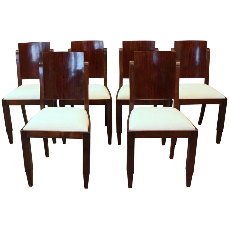 Set of Six French Art Deco Rosewood Dining Chairs For Sale