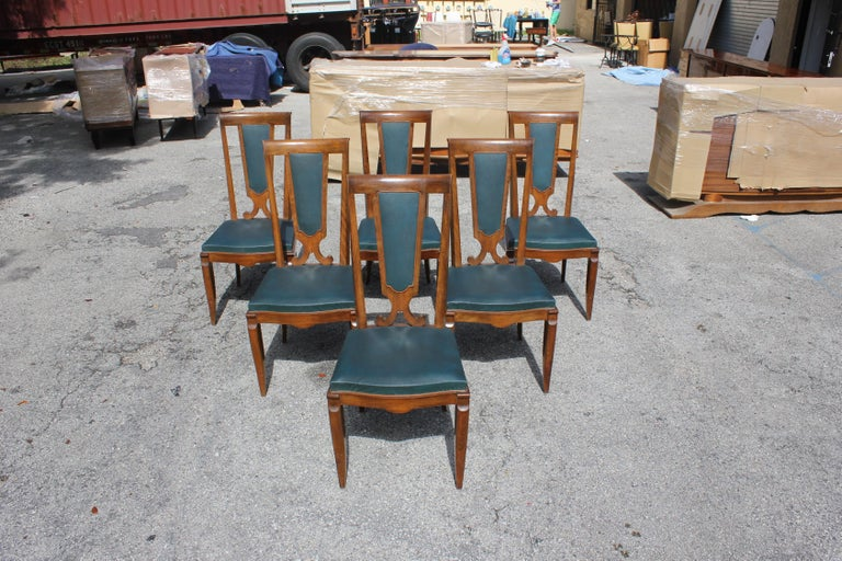Set of Six French Art Deco Solid Mahogany Dining Chairs by Jules Leleu For Sale 6
